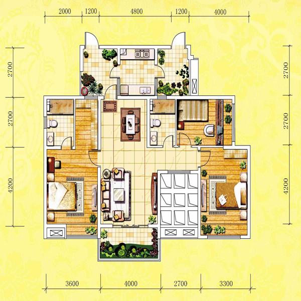 点击图片放大 3房2厅2卫(120.25㎡)