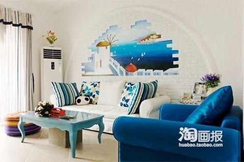 网购打造82平地中海家 纯美小户型装修效果图欣赏