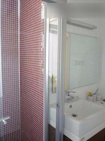 紫色马赛克的淋浴房